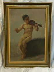 Elmer William Pirson American Artist Oil Painting Of Nude Male Playing Violin