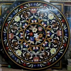48 Inches Round Marble Inlay Table Top Hand Crafted Dining Table Floral Pattern