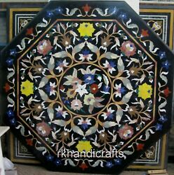 48 Inches Black Marble Dining Table Top Mosaic Art Conference Table For Office