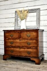 Antique Georgian Chest Dresser Mid 1800s Gorgeous Grain And Inlay