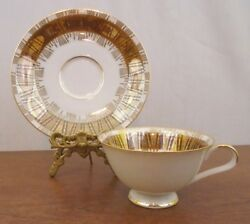 Bavaria German Vintage White And Gold Tea Cup And Saucer