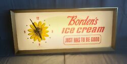 Rare Vintage Bordens Elsie The Cow Lighted Clock Sign Dairy Products Advertising