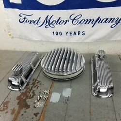 Ford Sbf 14 Deep Finned Ac/ Engine Dress Up Kit Pcv Breathers 260 289 302 351w