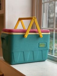 Vintage 90's Igloo The Picnic Basket Cooler Teal Pink Yellow Handles Retro 25qt