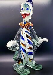 Large Vintage Murano Multicolor Blown Glass Candy Cane Clown Italy Venetian 13