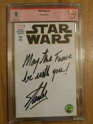 Stan Lee Signed Star Wars May The Force Be With You Beckett Bas/cbcs Excelsior