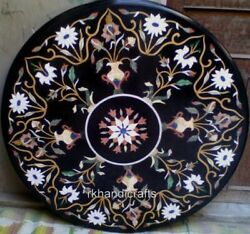 48 Inches Multi Gemstones Inlaid Conference Table Top Round Marble Dining Table