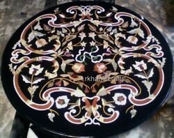 48 Inches Royal Pattern Inlay Reception Table Top Marble Dining Table Stones Art