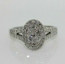9ct White Gold 1.00ct Diamond Cluster Engagement Ring Size P Us 7 1/2