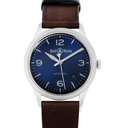 Bell And Ross Vintage Brv192-blu-st/sca Blue Dial Menand039s Watch Genuine Freesandh