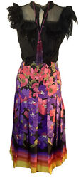 Floral Degrade Silk Twill Pleated Midi Skirt Colorful Rare Sold Out 1950