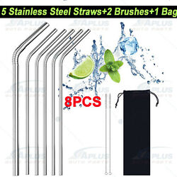 5 Pcs 10.5quot;Stainless Steel Metal Drinking Straw Straight Straws2 Cleaner Brush $4.89