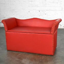 Vintage Coral Vinyl Faux Leather Cedar Lined Storage Bench Settee With Nail Head