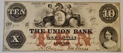 1854 10 Ten Dollars State Of Georgia The Union Bank, Augusta Currency Au/unc