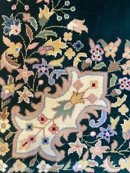 New Fine Quality Floral Rug Handmade In India, Hunter Green And Pink, Pastels 8x10