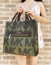 Kenly Large Ns Tote Satchel Graphic Logo Brown Mk Green Multi Rare