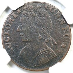 1788 12.1-f.1 R-5 Ngc Vf 20 Mailed Bust Left Connecticut Colonial Copper Coin