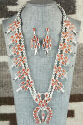 Coral And Sterling Silver Squash Blossom Set - Claudine Peketewa