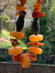Antique Genuine African Amber W/ Baltic Amber And Ashanti Brass Beaded Necklace