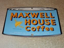 Vintage Maxwell House Coffee Cup Die-cut Can 7 3/4 Porcelain Metal Gas Oil Sign
