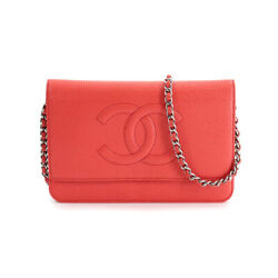 Chain Long Wallet Caviar Skin Leather Red A48654 90120417
