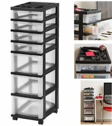 Plastic Storage 7 Drawer Rolling Cart W/ Organizer Top For Office Home Classroom