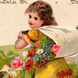 Victorian Trade Card Foster, Higgins Clothing Taunton 27 Stores Girl W/ Flowers