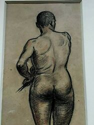 Original Heinrich Zille Drawing Pencil Signed Male Nude And Original Catalog
