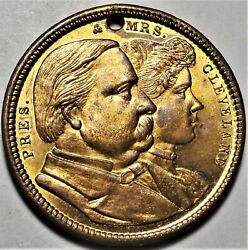 1888 Mr And Mrs Cleveland Political Campaign Token Medal Gc 1888-11 Brass 25mm