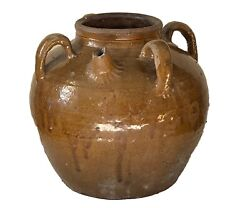 Old Asian Chinese Earthenware Pottery Storage Jar 9.5 H