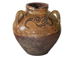 Old Asian Chinese Earthenware Pottery Storage Jar 9.75 H