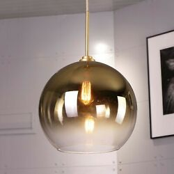 1-light D14and039and039 X H20and039and039 Gold Finish And Champagne Graduated Color Glass Pendant