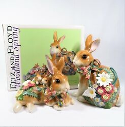 Fitz And Floyd Woodland Spring Rabbit Ornament Pair Figurines 73/181 Open Box