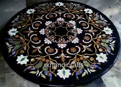 4 Feet Marble Inlay Dining Table Top With Multi Gemstones Work Hallway Table Top