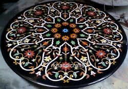 48 Inches Black Round Marble Table Top Inlay With Decent Pattern Dining Table