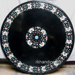 42 Inches Marble Office Table Top Hand Made Dining Table With Peitra Dura Art