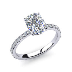Real 0.82 Ct Cushion Diamond Engagement Rings Solid 14k White Gold Size 6 7 8 9