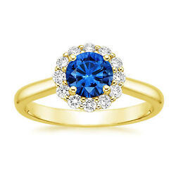 Natural 1.78 Ct Diamond Blue Sapphire Women Ring Solid 14k Yellow Gold Size 8 7