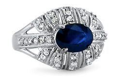 Oval 1.85 Ct Natural Diamond Real Blue Sapphire Ring Solid 14k White Gold Size 7