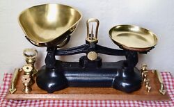 Vintage English Libra Black Scales 7 Brass Bell Weights On Polished Wood Stand