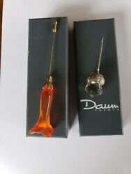 Daum France Apricot Frosted Glass Jasmine Flower Gold Tone Hat Bar Brooch Pin