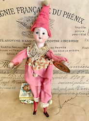 Antique Mechanical Automaton Working Cymbal Player Clown Jester Doll