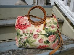 FOSSIL Vintage Canvas Tote Handbag Summer Floral Tan Hobo Boho Hippie Crossbody $44.99