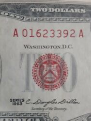 1963 Two Dollar Us Note, Red Seal 2 Bill, Monticello, Crisp Uncirculated A10