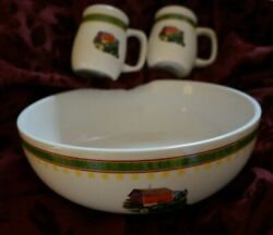 John Deere Mixing Bowl And Salt And Pepper Set In Stoneware W/model 1935 B Tractor