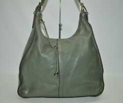 Hobo International Marley Bottle Green Large Zip Leather Hobo Shoulder Bag $95.00