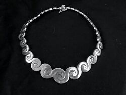 Vintage Large Sterling Silver Scrolls Necklace From Mexico Made In 1960th Marked