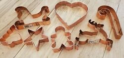 Lot Of 7 Large Copper Cookie Cutter Wilton Christmas Reindeer Heart Sleigh Candy