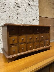 1870s 18 Drawer Walnut Jewelerand039s Apothecary Cabinet Primitive Country Industrial