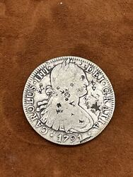1791 8 Reales Silver Mexico Piece Of Eight Heavily Chop Marked Chopmarked Rare